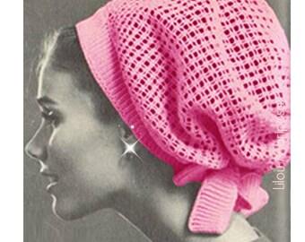 Crochet Pattern Vintage 60s Crochet Hat Pattern Crochet Snood Pattern Hair Net Hair Accessories Bohemian Clothing-INSTANT DOWNLOAD