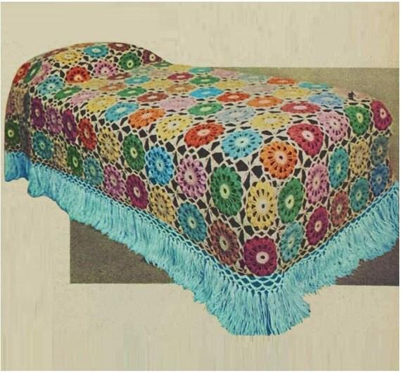 crochet bedspread pattern vintage 70s crochet bedding crochet motif blanket pattern bohemian. Black Bedroom Furniture Sets. Home Design Ideas