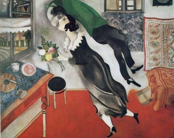"The Birthday by Marc Chagall, 8""x10"", Giclee Canvas Print"