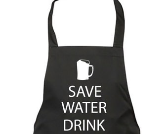 Dad Apron Save Water Drink Beer Black Apron Fathers Day Christmas Gift Idea
