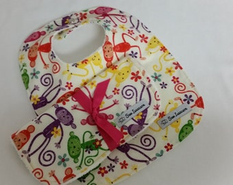 Baby bib and burp cloth, Gender neutral bib and burp cloth,  Baby shower gift, Baby bib, Monkey bib and burp cloth