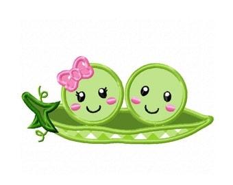 Two Peas in a Pod...Instant Download...Applique Machine Embroidery DESIGN NO. 520