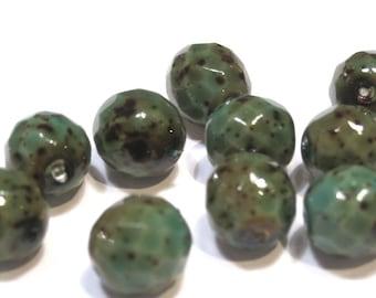 Czech Glass 10mm Facet Round - Green Stone - Pack 10