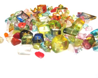 Glass Chips and Nuggets - 80 Grams - Varied Sizes