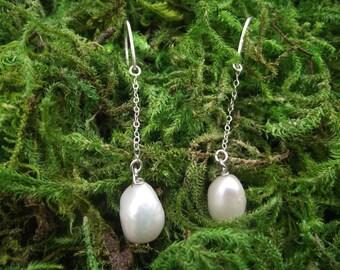Sterling Silver Baroque Pearl Drop Earrings, Bridal, Wedding