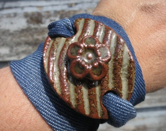 Wrap Bracelet - Ceramic Pendant - Blue and Brown Cuff - with flower - Denim Ribbon - Boho - Pottery Jewelry