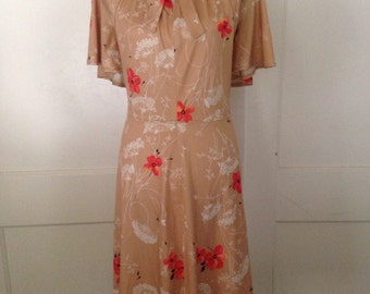 Vintage Fabric Handmade Dress Queen Anne's Lace and Poppy Print Large