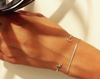 14k gold diamond bar bracelet, solid gold, pave diamond