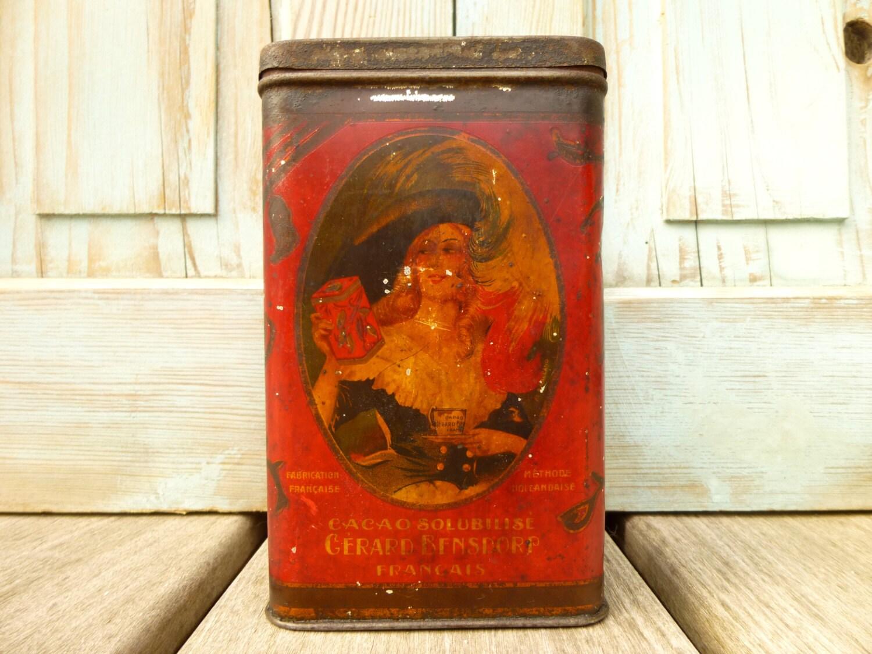 Antique Bo Te Publicitaire En M Tal Lithographi E