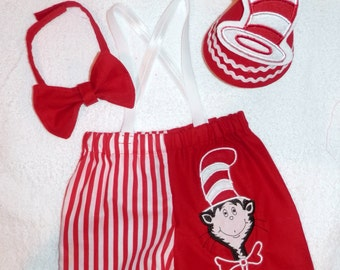 Cat in The Hat Smash Cake Outfit, Dr. Seuss Smash Cake Outfit. Cat in The Hat Birthday Outfit, Dr. Seuss Birthday Outfit