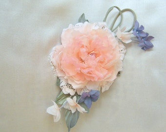 "Peony silk ""Tenderness"" Brooch flower Hair clips flowers"