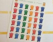 36 Multi color trash bin stickers for Erin Condren Life Planner Filofax Gillio #SWM00189