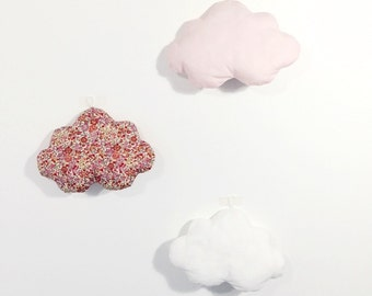 Set of 3 clouds - emma pink liberty / pink / white