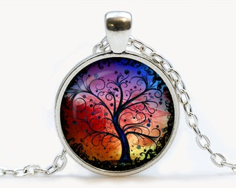 Colorful Tree of Life Glass pendant, Tree of Life  necklace , Tree of Life  jewelry, birthday gift