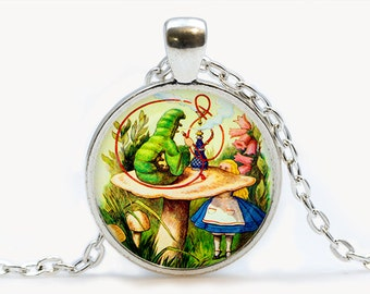 Alice Meets the Caterpillar Pendant. Alice in Wonderland Necklace. Illustration jewelry. Birthday gift