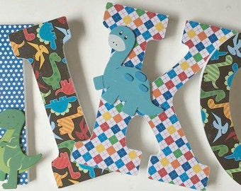 wall letters for boys, wood letters, dinosaur decorative letters, primary colors name letters, baby nursery letters, hanging letters,