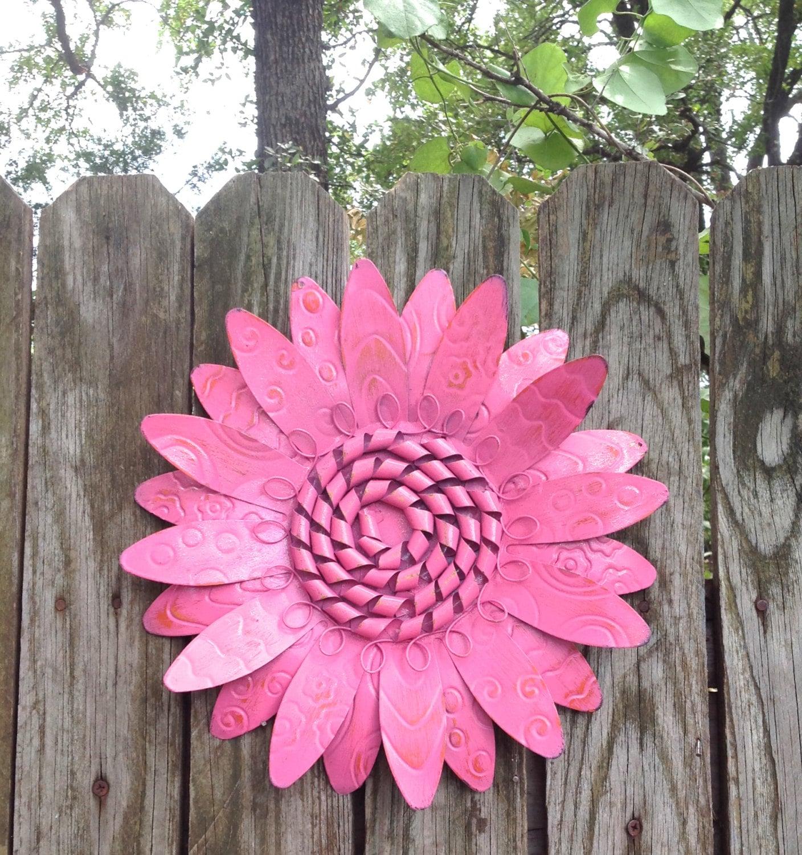Metal Fence Wall Flower Pink Hanging Outdoor Garden Patio