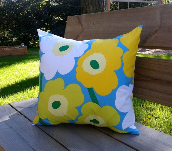 Marimekko Throw Pillow Covers : Pillow cover made from Marimekko fabric Unikko pillow case or