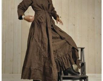 Coat dress shabby linen, made style in France