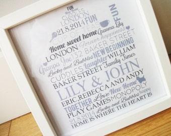 New Home House Warming Gift Framed Word Art Bespoke Gift Personalised Keepsake Gift