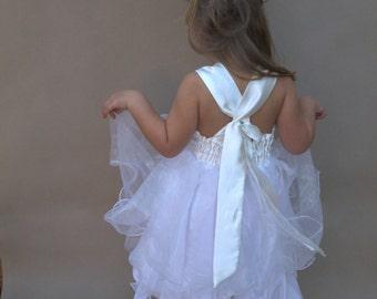 Flowergirl dress, Flower girl tutu, White tutu dress, Birthday dress, Ivory flowergirl, Wedding party dress, Beach flowergirl