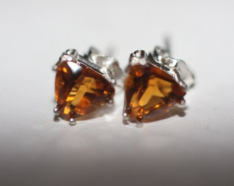 Handmade Genuine Trillion Cut Madeira Citrine Earrings Stud in Sterling Silver 7x7mm