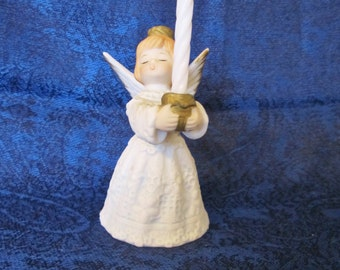 "Vintage Angel Holding Candle Cup-stands 3.5"" tall,is ceramic & delicately hand painted. It will be a delightful addition to your home decor"