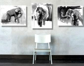 Elephant Painting, canvas art, prints of wild animals, boys room decor, boy nursery art, ink Illustrations, Black And Whitet, 16x20