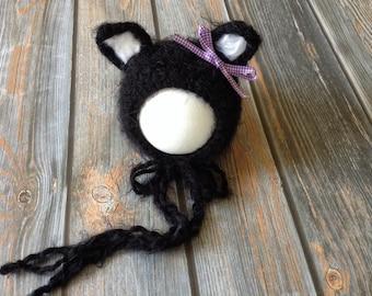 Crochet kitten hat/animal hat/animal bonnet/crochet kitten bonnet/black kitten hat/newborn photo prop/baby gift