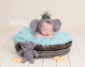 Crochet elephant bonnet/mohair animal hat/newborn elephant bonnet/newborn photo prop/baby gift