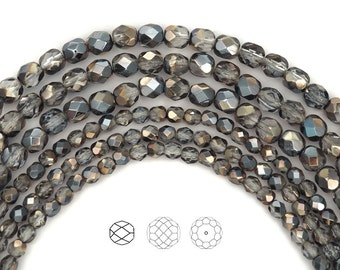 Crystal Moody Blue Sky coated, Czech Fire Polished Round Faceted Glass Beads, 4mm or 6mm on 16 inch strand Grey Metallic Preciosa Bead
