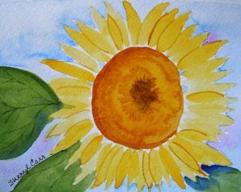 Sunflower Watercolor Notecard