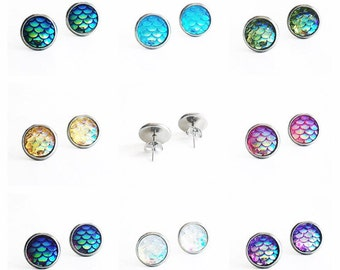 HYPOALLERGENIC Mermaid Stud Earrings 10mm MEDIUM (Surgical Stainless Steel)