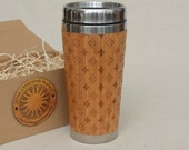 Wooden Travel Mug Customized Gift Full Design   Louis Light    Engraved Bamboo Car Desk Coffee Tea Cup Stainless Steel