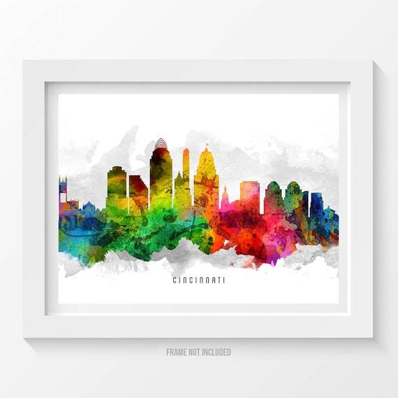 Cincinnati Ohio Skyline Poster Cincinnati Cityscape