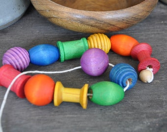 Rainbow Wooden Lacing Beads - A Waldorf and Montessori Inspired Preschool Toy