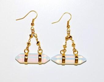 Boho Bullet Quartz Chandelier Earrings