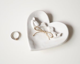 Wedding Ring Plate, Wedding Ring Holder, Love Birds, Engagement Ring Bowl, Wedding Gift, Ceramic Plate, Heart Plate, Ceramics and Pottery