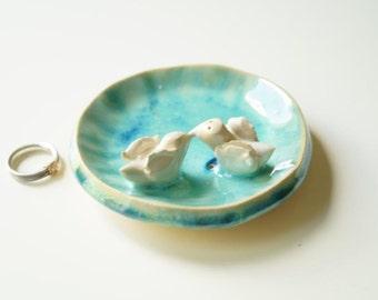 Wedding Ring Holder, Engagement Ring Bowl, Wedding Present, Wedding Decor, Ceramic Plate, Bird Plate, Ceramics and Pottery