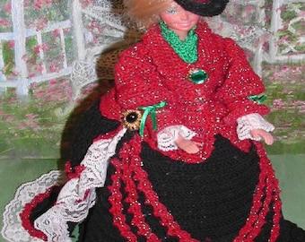 Crochet Fashion Doll Barbie  Pattern- #392 VICTORIA in BLACK & RED