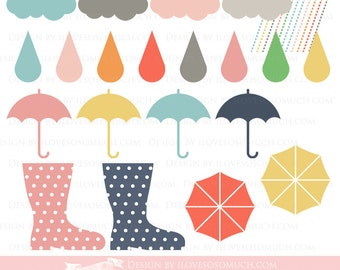 Colorful Rainy Day Clip Art - Instant  Download - CA005