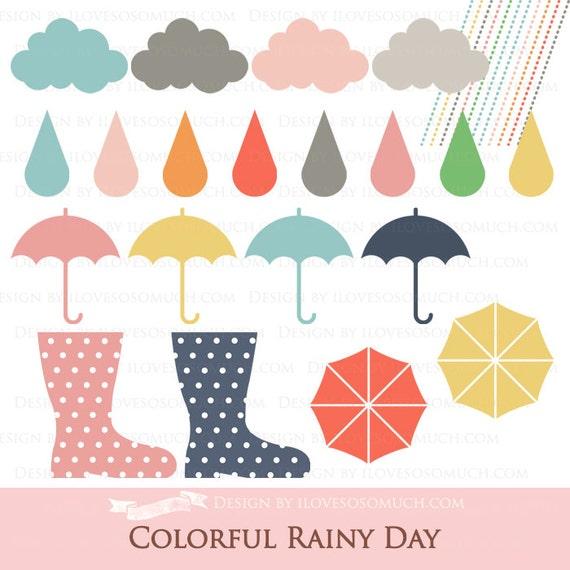 Rainy Day Clip Art: Colorful Rainy Day Clip Art
