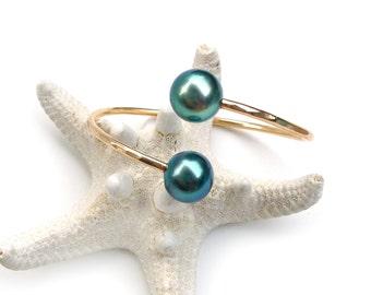Tahitian Pearls Cuff Bracelet - Luxury Collection - Hawaii Beach Jewelry - Gift For Her - Christmas Gift Ideas - Handmade Jewelry - Hawaii