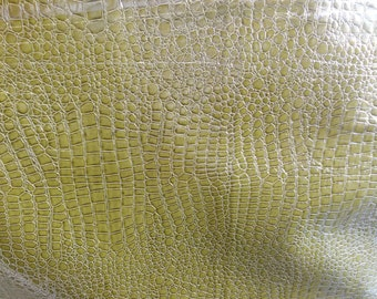 crocodile faux leather vinyl fabric green color by the yard