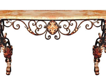 54.6413 Antique French Wrought Iron Console Table