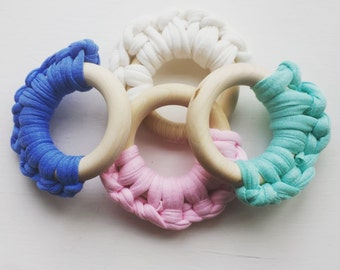Wooden crochet teether
