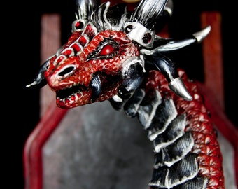 Red Metal Dragon Bust