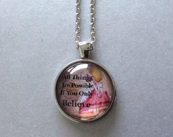 Alice In Wonderland Glass Cabochon Pendant Necklace