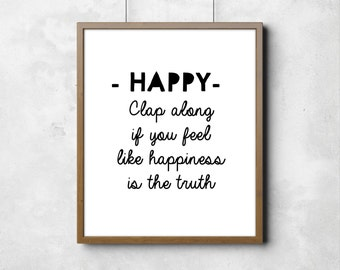 """Wall poster Happy Song Digital Art Nursery Room Kids Art Black and White Typography Poster 8"""" x 10"""""""