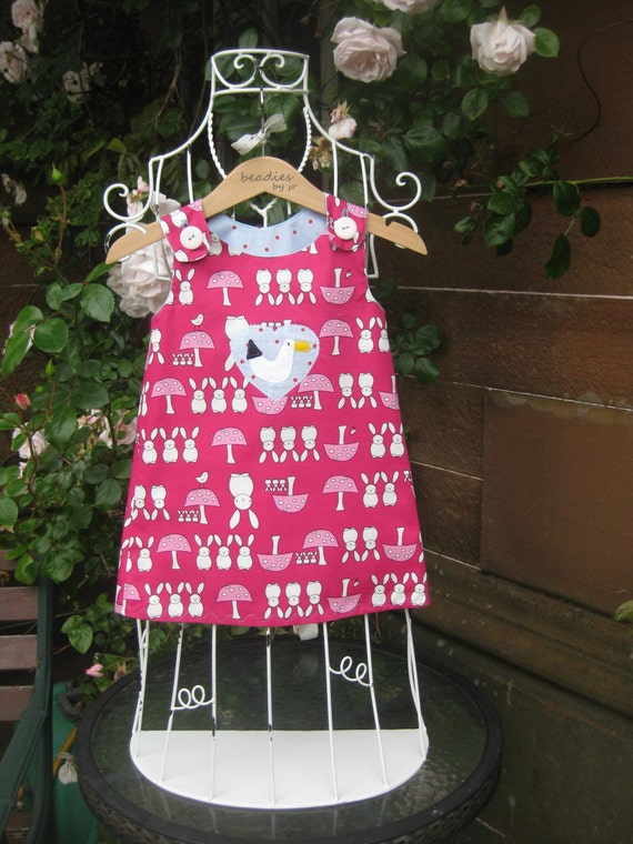 Reversible Dress, girls pinafore, retro style, shift dress, 2 in 1, chintzy, funky,rabbits,polka dot, seagull, poplin,  beadies by jo